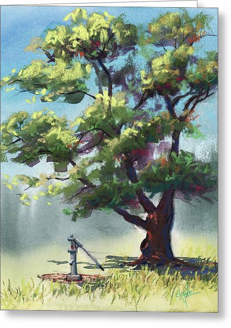 Shade Pastels Greeting Cards - Elm Tree Oasis Greeting Card by Christine Camp