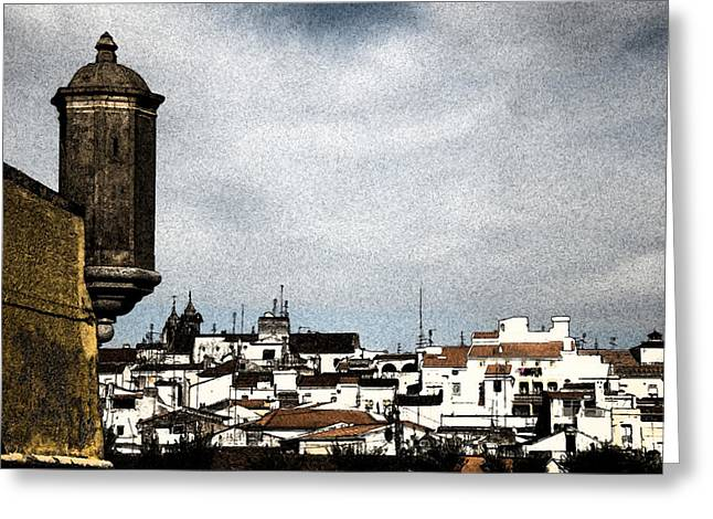Run Down Mixed Media Greeting Cards - Elvas Castle and village  Greeting Card by Agostinho Goncalves
