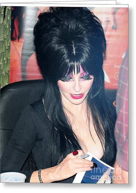 Peterson Greeting Cards - Elvira - Mistress of the Dark Greeting Card by Paul Ward