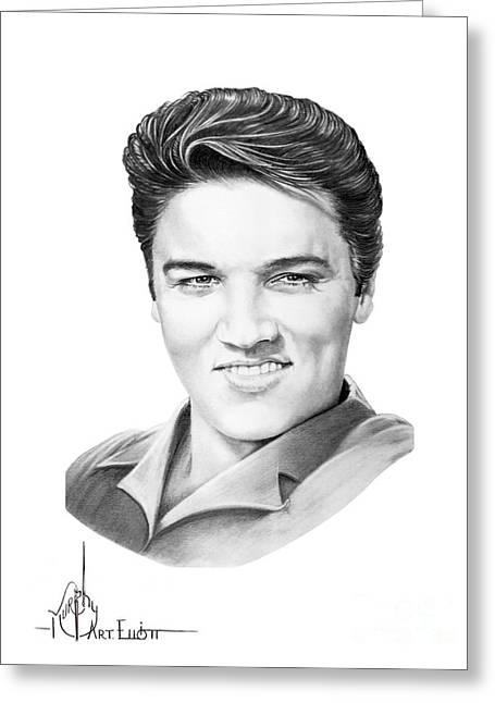 (murphy Elliott) Greeting Cards - Elvis Aaron Presley Greeting Card by Murphy Elliott