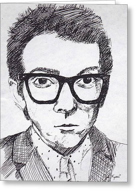 Costello Greeting Cards - Elvis Costello Greeting Card by John Keaton