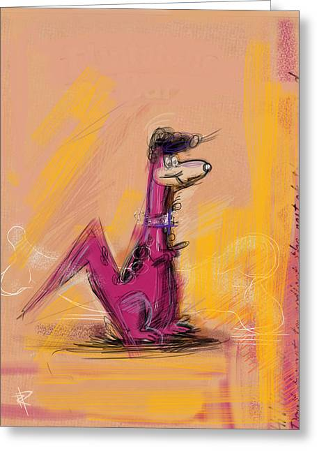 Collar Mixed Media Greeting Cards - Elvis Dino Greeting Card by Russell Pierce