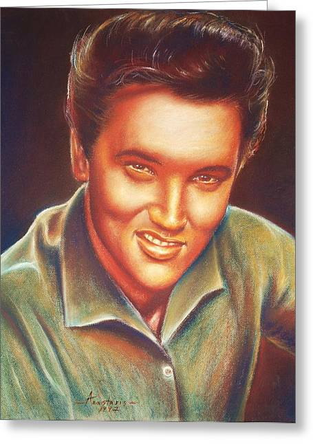 Male Singer Greeting Cards - Elvis In Color Greeting Card by Anastasis  Anastasi