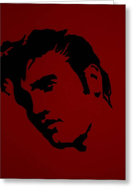 Elvis In Red Satin Greeting Card by Robert Margetts