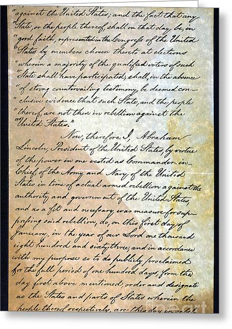 Abolition Photographs Greeting Cards - Emancipation Proc., P. 2 Greeting Card by Granger
