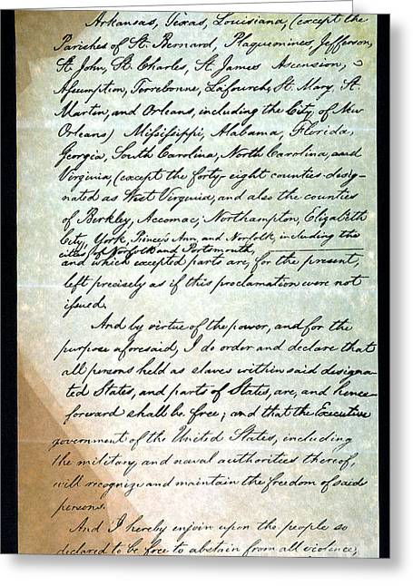 Proclamation Greeting Cards - Emancipation Proc., P. 3 Greeting Card by Granger