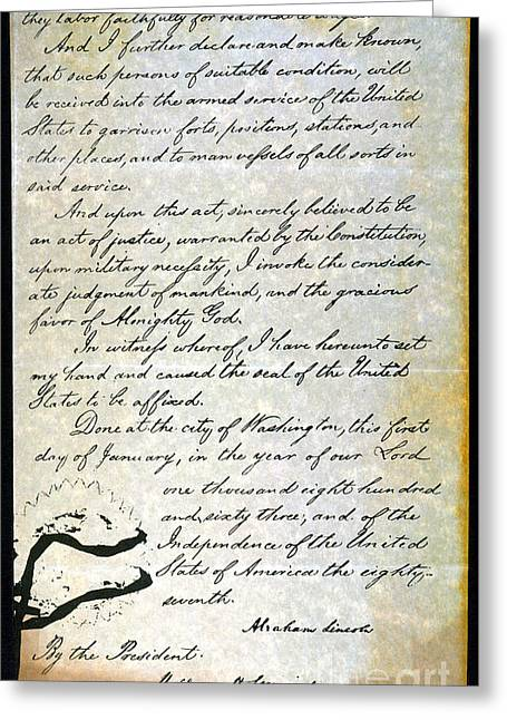 Proclamation Greeting Cards - Emancipation Proc., P. 4 Greeting Card by Granger