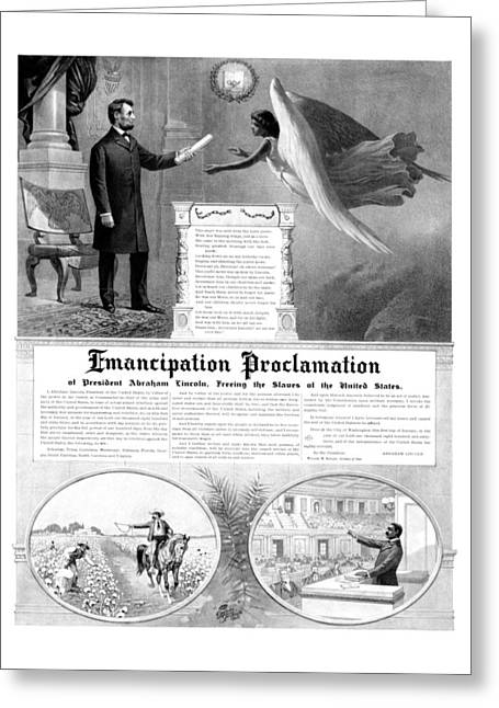 .freedom Mixed Media Greeting Cards - Emancipation Proclamation Greeting Card by War Is Hell Store