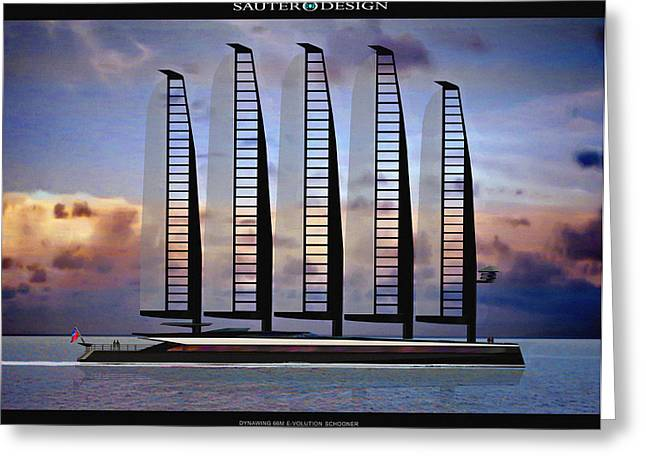 Volution Greeting Cards - Emax E-Volution Schooner Greeting Card by Richard Sauter
