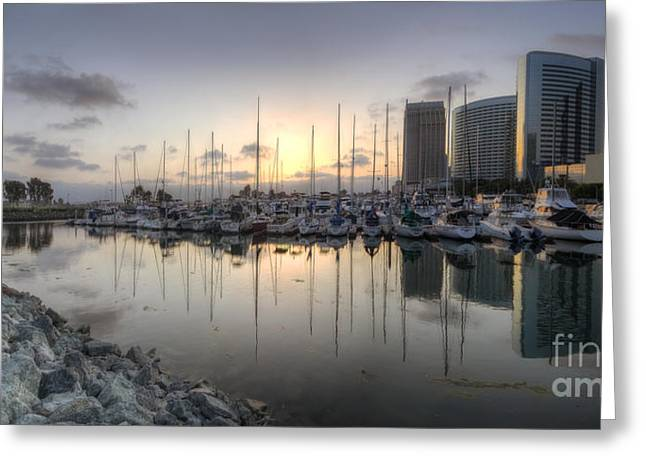 Sailboat Art Greeting Cards - Embarcadero Marina   Greeting Card by Yhun Suarez