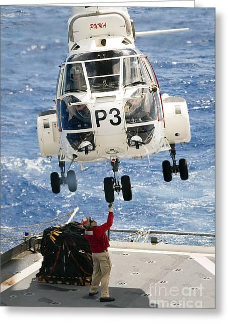 Takeoff Greeting Cards - Embarked Presidential Airways Puma Greeting Card by Stocktrek Images