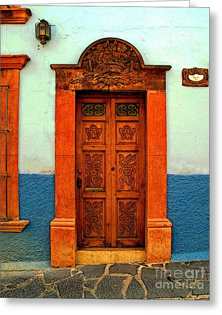 San Miguel De Allende Greeting Cards - Embellished Puerta Greeting Card by Olden Mexico