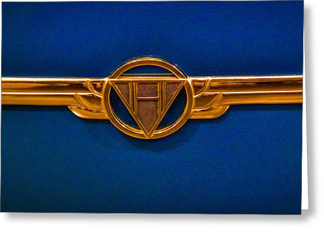 Collector Hood Ornament Greeting Cards - Emblem of a 1936 Hudson 65 Custom 8 Convertible Greeting Card by David Patterson
