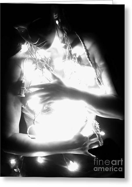Jaedadewalt Greeting Cards - Embracing Light - Self Portrait Greeting Card by Jaeda DeWalt