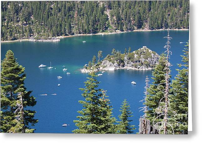 Boats In Water Greeting Cards - Emerald Bay Greeting Card by Carol Groenen