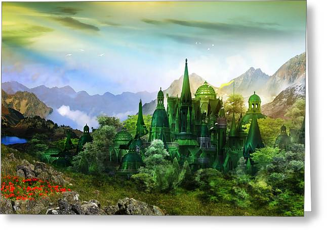 Emerald Greeting Cards - Emerald City Greeting Card by Karen H