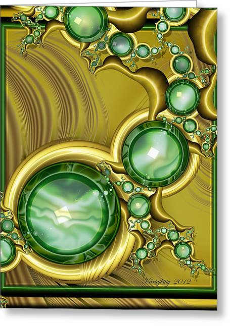 Karlajkitty Digital Art Greeting Cards - Emerald Gloss Greeting Card by Karla White