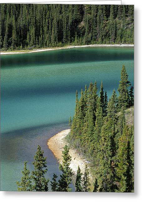 Aerial Photograph Greeting Cards - Emerald Lake, Whitehorse, Yukon Greeting Card by Mike Grandmailson