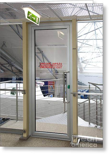 Tallinn Airport Greeting Cards - Emergency Exit at an Airport Greeting Card by Jaak Nilson