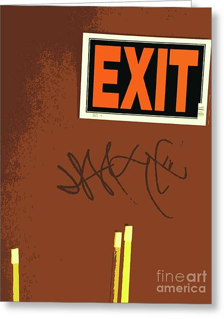 Exit Sign Greeting Cards - Emergency Exit Greeting Card by Joe Jake Pratt