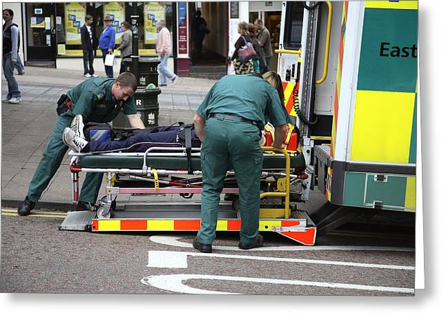 Ambulance Greeting Cards - Emergency Treatment Greeting Card by Victor De Schwanberg