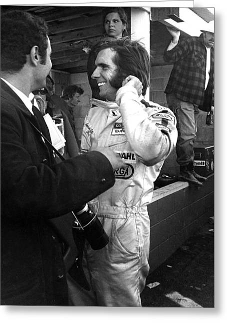 Mike Flynn Greeting Cards - Emerson Fittipaldi Greeting Card by Mike Flynn