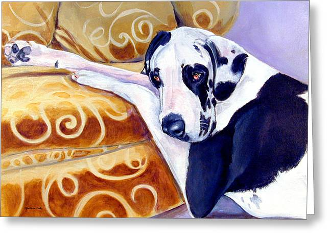 Great Paintings Greeting Cards - Emery the Great Dane Greeting Card by Lyn Cook
