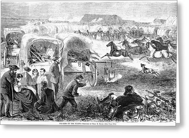 Destiny Greeting Cards - Emigrants, 1869 Greeting Card by Granger