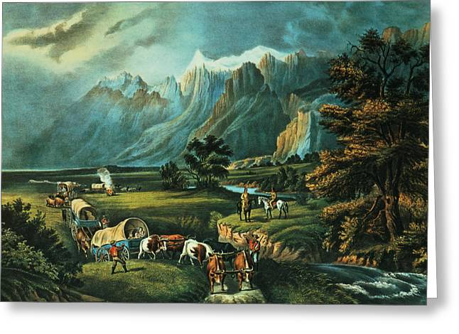 M J Greeting Cards - Emigrants Crossing the Plains Greeting Card by Currier and Ives