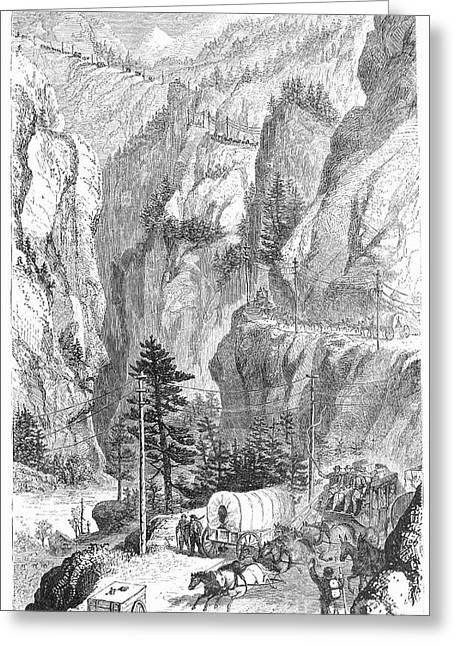Mountain Road Greeting Cards - Emigrants To The West, 1865 Greeting Card by Granger