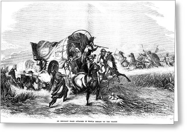 Destiny Greeting Cards - Emigrants Under Attack Greeting Card by Granger