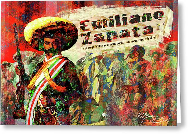 Evil And Good Digital Art Greeting Cards - Emiliano Zapata Inmortal Greeting Card by Dean Gleisberg