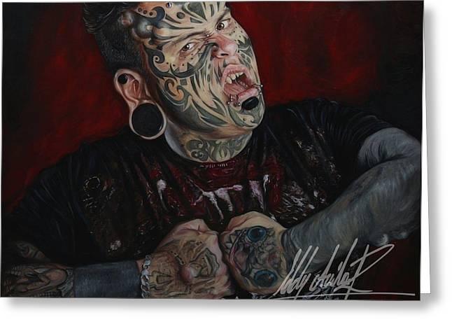 Emilio Greeting Cards - Emilio Gonzalez Tattoo Greeting Card by Eddy Avila R