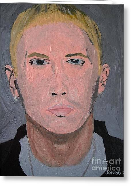 Eminem Paintings Greeting Cards - Eminem Rap Singer Greeting Card by Jeannie Atwater Jordan Allen