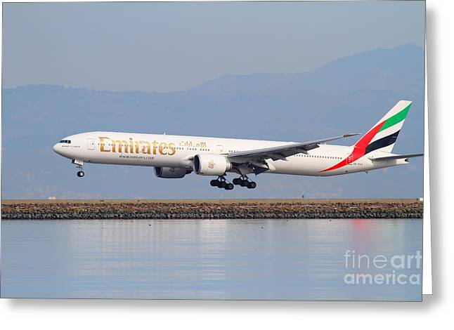 Landing Airplane Greeting Cards - Emirates Airline Jet Airplane At San Francisco International Airport SFO . 7D12100 Greeting Card by Wingsdomain Art and Photography