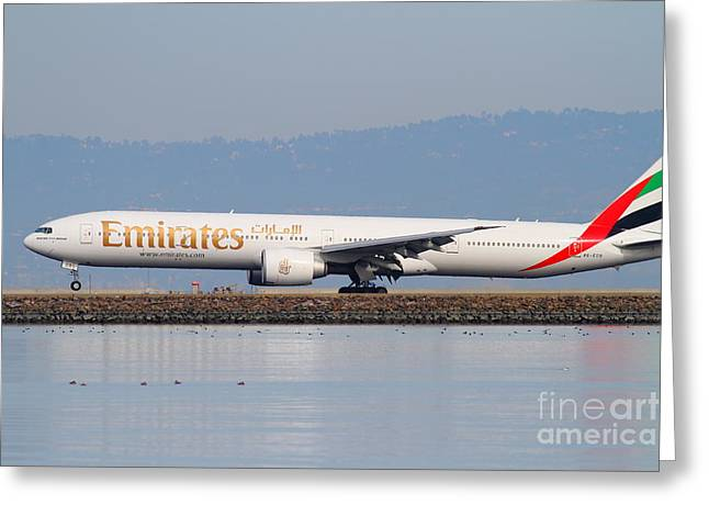 Landing Airplane Greeting Cards - Emirates Airline Jet Airplane At San Francisco International Airport SFO . 7D12104 Greeting Card by Wingsdomain Art and Photography