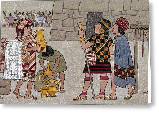 Emissaries Bring Tribute To Inca Greeting Card by Ned M. Seidler