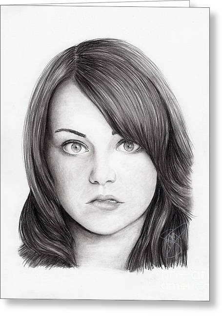 Emma Greeting Cards - Emma Stone Greeting Card by Rosalinda Markle