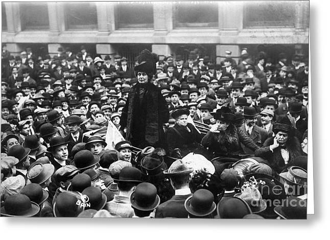 Protesters Greeting Cards - Emmeline Pankhurst Greeting Card by Granger