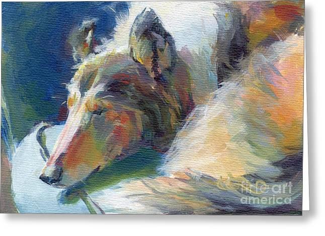 Collie Paintings Greeting Cards - Emmies Beauty Sleep Greeting Card by Kimberly Santini