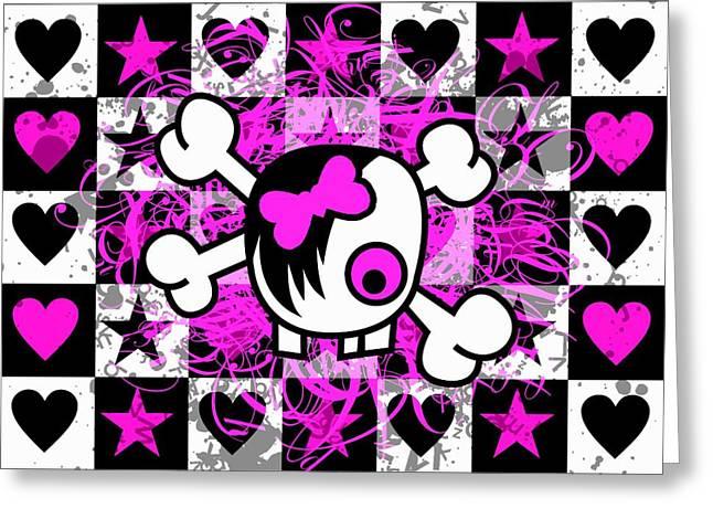 Emo Greeting Cards - Emo Scene Girl Skull Greeting Card by Roseanne Jones