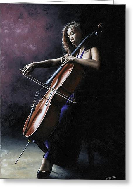 Richard Young Greeting Cards - Emotional Cellist Greeting Card by Richard Young