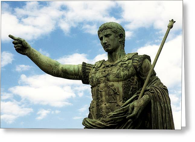 Art Sculptures Greeting Cards - Emperor Caesar Augustus Greeting Card by Fabrizio Troiani