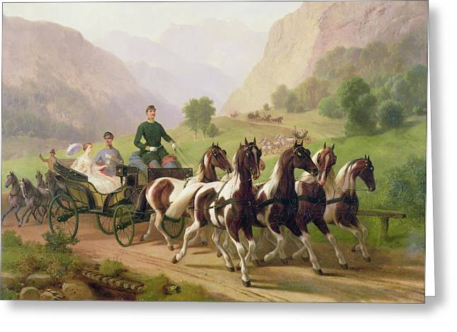 Austria Paintings Greeting Cards - Emperor Franz Joseph I of Austria being driven in his carriage with his wife Elizabeth of Bavaria I Greeting Card by Austrian School