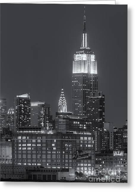 Landmark Greeting Cards - Empire State and Chrysler Buildings at Twilight II Greeting Card by Clarence Holmes