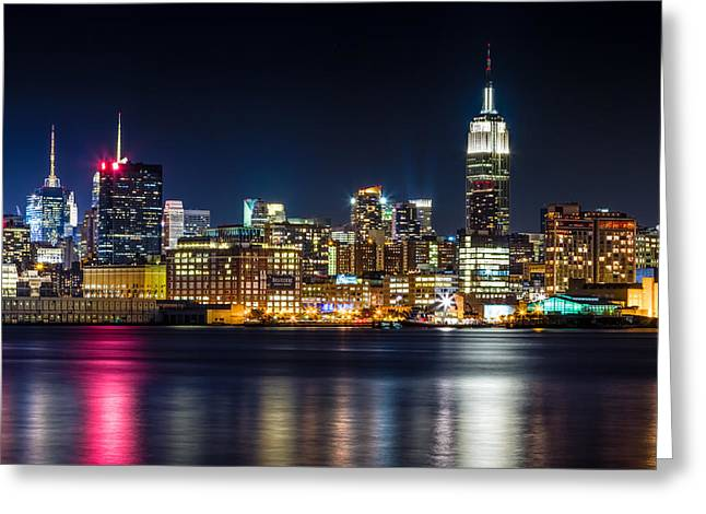 Tone Mapped Greeting Cards - Empire State Building and Midtown manhattan at Night Greeting Card by Val Black Russian Tourchin