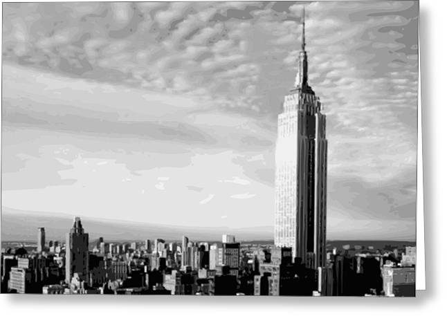 Capital Of The Universe Greeting Cards - Empire State Building BW16 Greeting Card by Scott Kelley