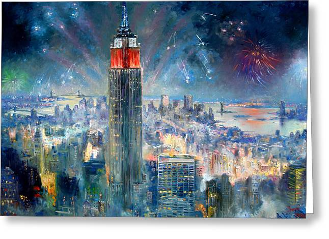 Independence Day Paintings Greeting Cards - Empire State Building in 4th of July Greeting Card by Ylli Haruni