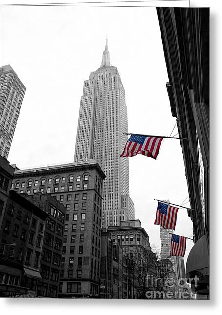 Shine Photographs Greeting Cards - Empire State Building in the mist Greeting Card by John Farnan