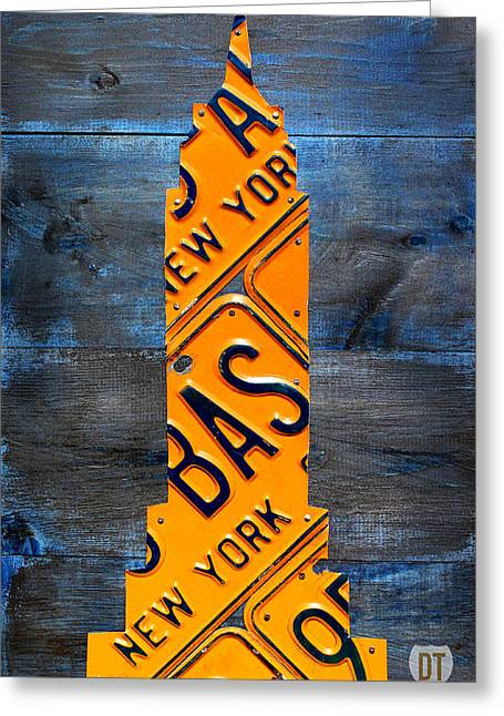 Empire State Building Nyc License Plate Art Greeting Card by Design Turnpike